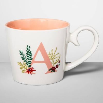 16oz Stoneware Monogram Mug Cream A - Opalhouse™