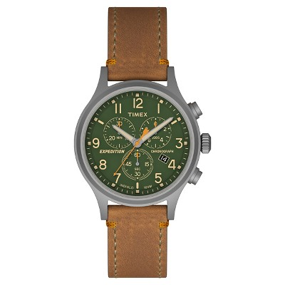 Men's Timex Expedition Scout Chronograph Watch with Leather Strap - Gray/Green/Tan TW4B044009J