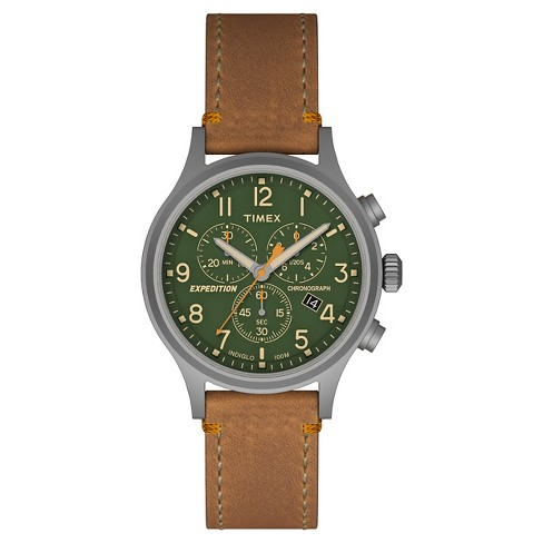 399e1f48eed3 Men s Timex Expedition® Scout Chronograph Watch with Leather Strap -  Gray Green Tan TW4B044009J