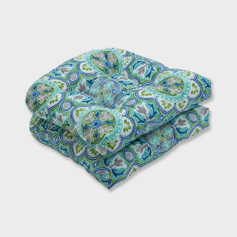 2pk Lagoa Tile Wicker Outdoor Seat Cushions Blue - Pillow Perfect - image 1 of 2