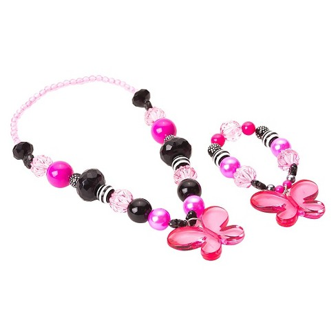 Little Adventures Chunky Jewelry - Hot Pink-Black Butterfly Set - image 1 of 1