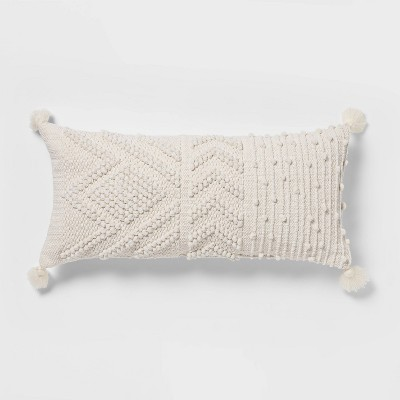 Oversize Embroidered Textured Lumbar Throw Pillow Cream - Opalhouse™