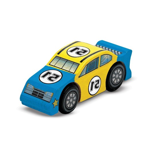 Melissa & Doug Decorate-Your-Own Wooden Train and Race Car Craft Kits, Set of 2 image number null