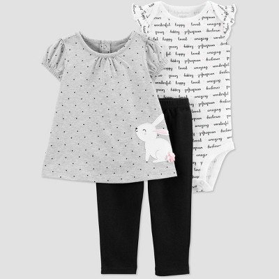 Baby Girls' 3pc Bunny Top and Bottom Set - Just One You® made by carter's Gray 9M