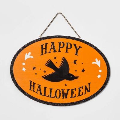 Happy Halloween Raven Halloween Wood Hanging Sign - Hyde & EEK! Boutique™