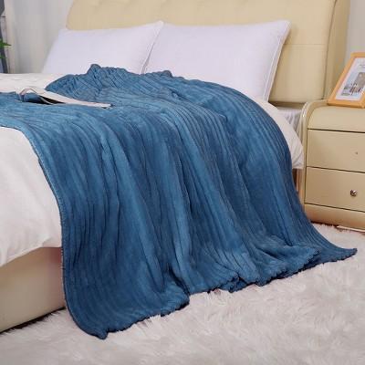 1 Pc Twin Microfiber Polar Fleece Bed Blankets Navy Blue  - PiccoCasa