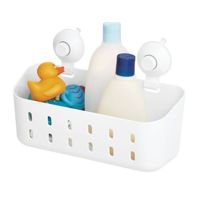 Cade Push Lock Suction Rectangle Basket White - iDESIGN
