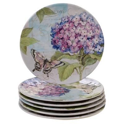 "9"" 6pk Melamine Hydrangea Garden Salad Plates Blue/Purple - Certified International"