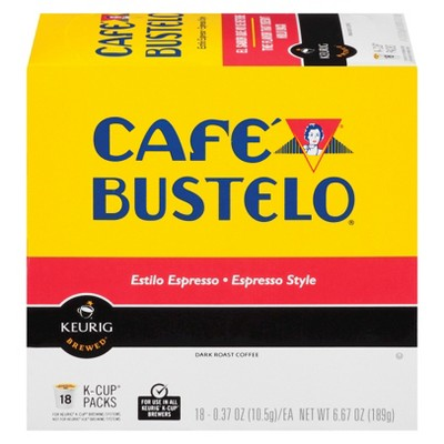 Cafe Bustelo Espresso Dark Roast Coffee - Keurig K-Cup Pods - 18ct