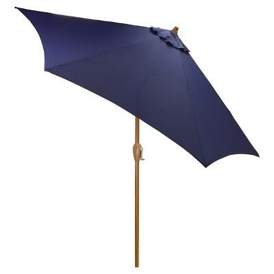 9' Round Umbrella - Navy - Wood Pole - Threshold™