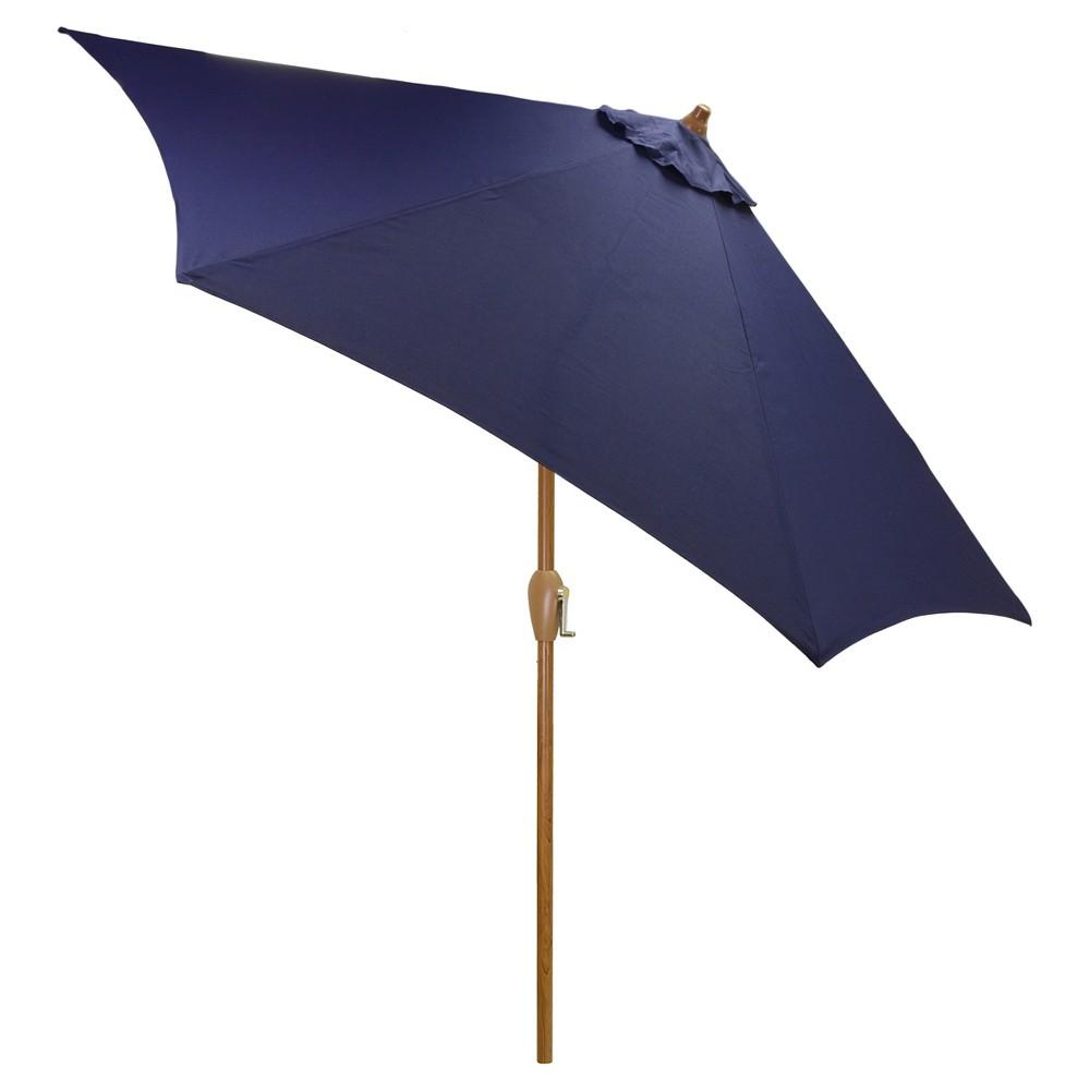 9' Round Umbrella - Navy (Blue) - Wood Pole - Threshold