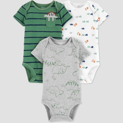Baby Boys' 3pk Dinosaur Bodysuit - Just One You® made by carter's Green/White/Gray