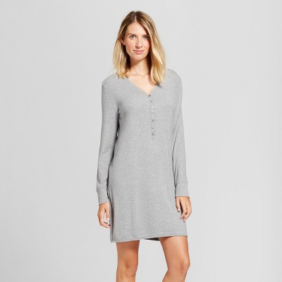 Maternity Nursing Henley Striped Nightgown - Gilligan & O'Malley™ Medium Heather Gray XS