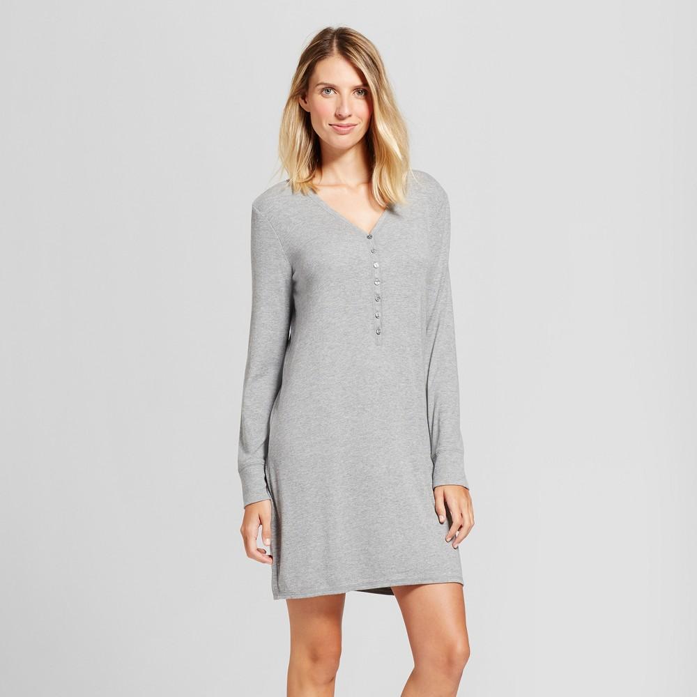 Maternity Nursing Henley Striped Nightgown Medium Heather Gray Xxl, Women's