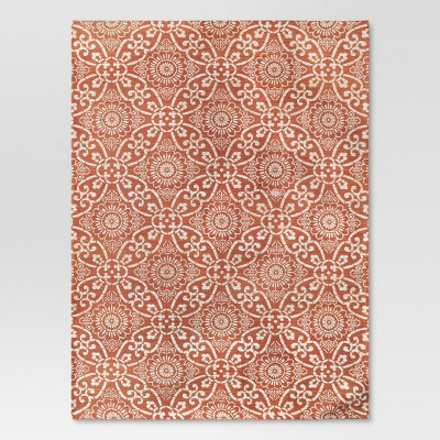7'x10' Jacquard Area Rug Orange Coral - Threshold™