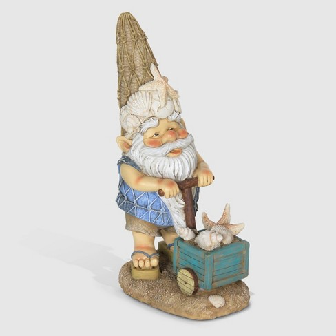 "15"" Resin Beach Bum Gnome With A Box Of Seashells Beige - Exhart - image 1 of 1"