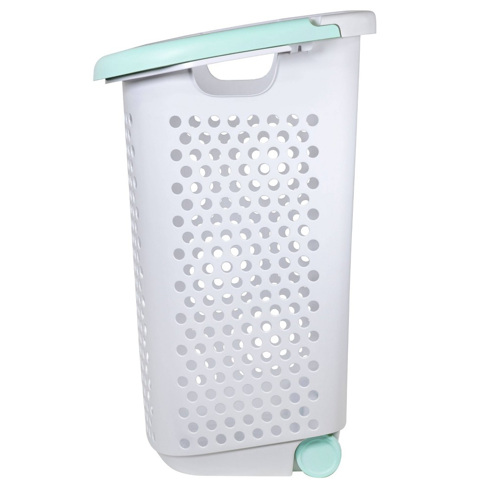 Image of Rolling Laundry Hamper White With Turquoise Handles - Room Essentials