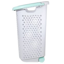 Rolling Laundry Hamper White With Turquoise Handles - Room Essentials™