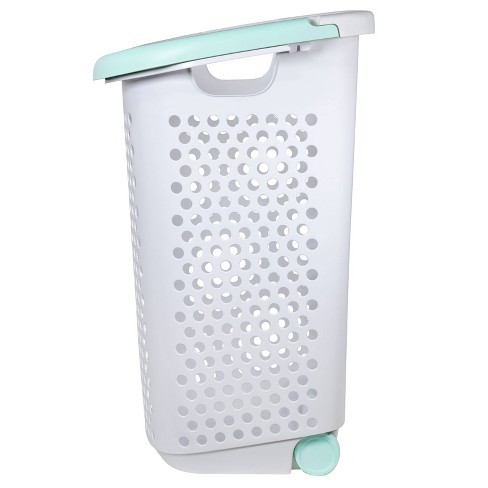 Rolling Laundry Hamper White With Turquoise Handles - Room Essentials™ - image 1 of 4