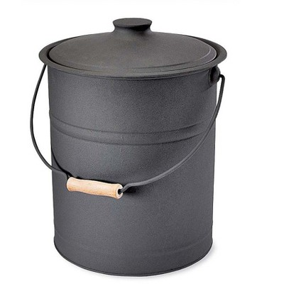 Plow & Hearth - Double-Bottom Galvanized Steel Fireplace Ash Bucket with Handle
