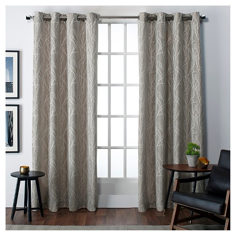 "Set of 2 Finesse Faux Linen Window Curtain Panels (54""X108"") Exclusive Home - image 1 of 3"