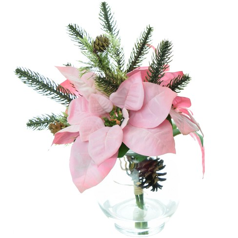 "Artificial Poinsettia Arrangement with Glass Bowl Vase 9"" - LCG Florals - image 1 of 1"