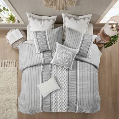 3pc Full/Queen Imani Cotton Comforter Set Gray