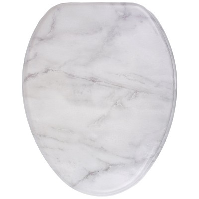 Sanilo 135 Elongated Molded Wood Toilet Seat w/ No Slam, Slow, Soft Close Lid, Stainless Steel Hinges, & Unique Fun Decorative Design, Marble, Gray