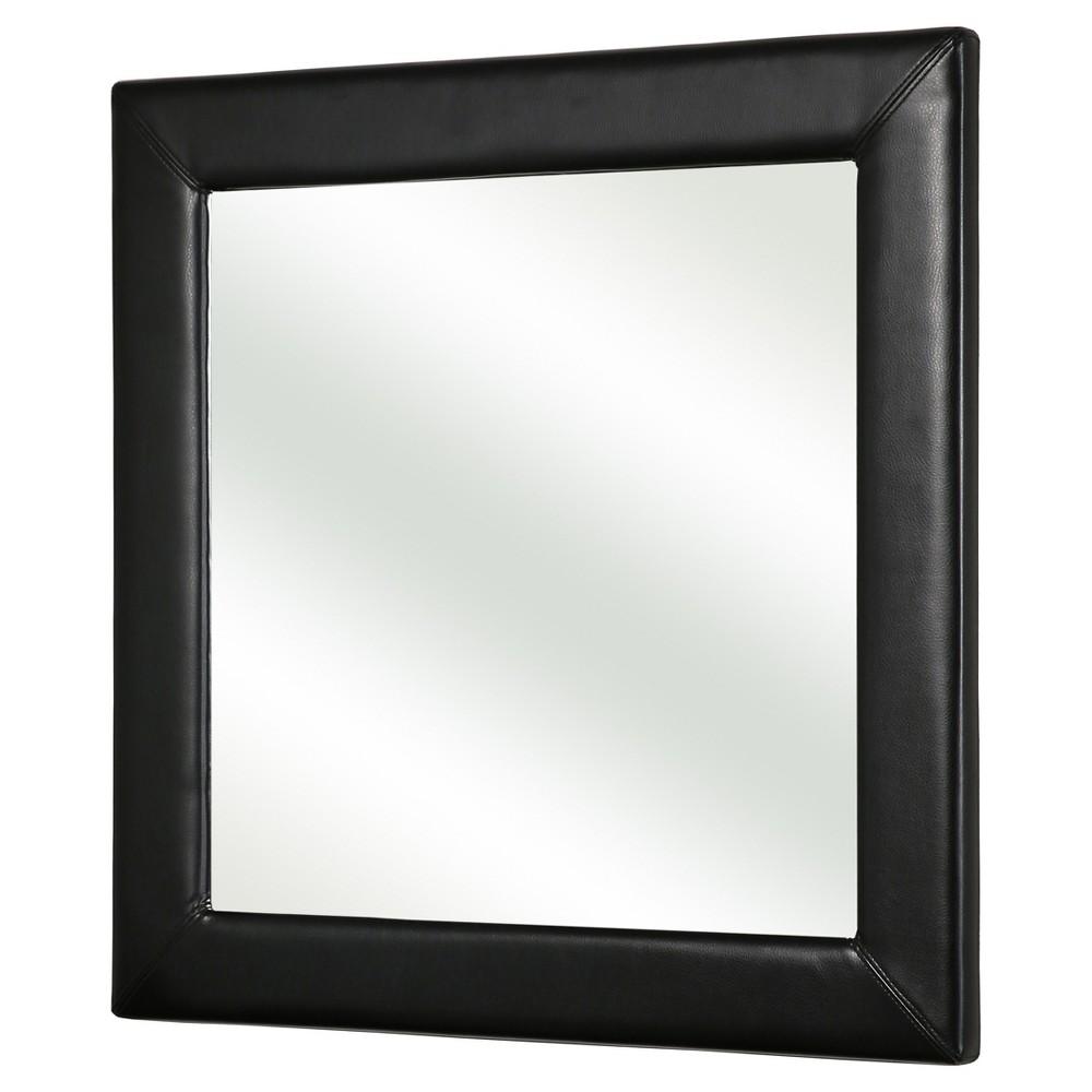 Benson Leather Square Wall Mirror - Black - Abbyson