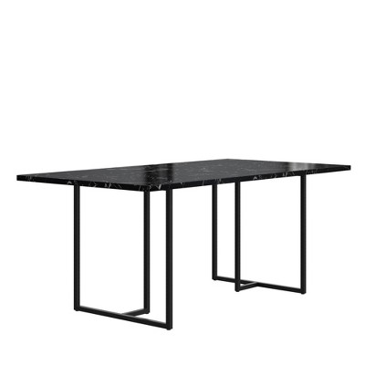 Edith Rectangular Dining Table Faux Marble Black - CosmoLiving by Cosmopolitan