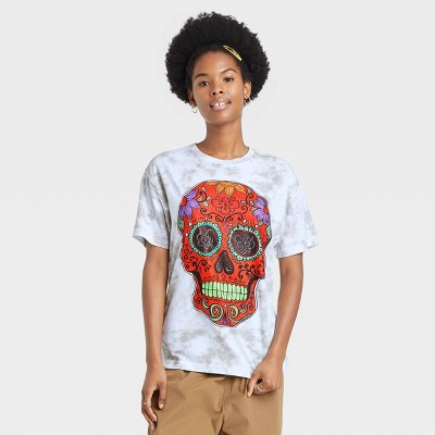 Women's Dia De Los Muertos Skull Short Sleeve Graphic T-Shirt - White Tie-Dye
