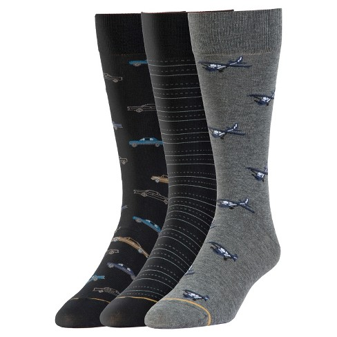 Signature Gold by GOLDTOE® 3pk Classics Cars & Planes Crew Socks - Gray/Black 6-12 - image 1 of 2