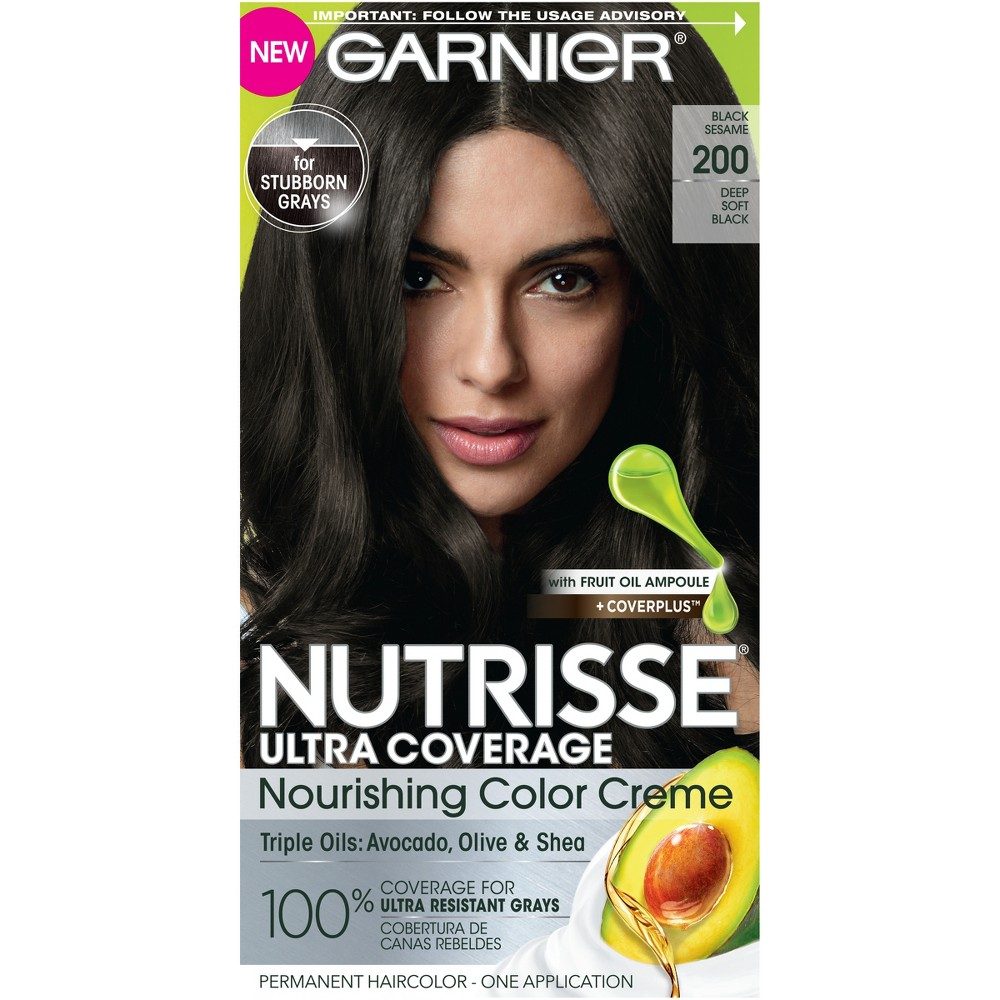 Garnier Nutrisse Ultra Coverage Nourishing Color Cream - 200 Deep Soft Black, Soft Black 200