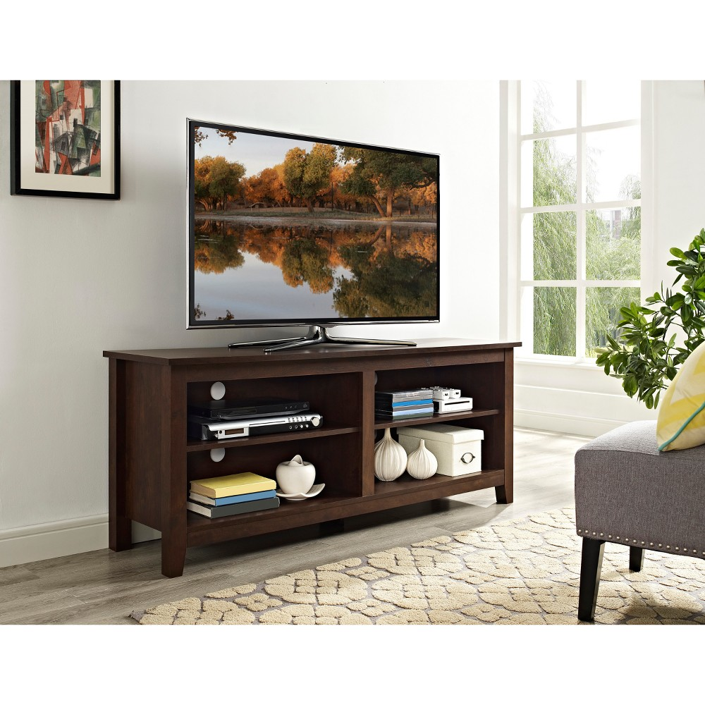 58 Wood TV Media Stand Storage Console - Traditional Brown - Saracina Home