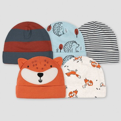 Gerber Baby Boys' 5pk Fox Cap - Beige One Size