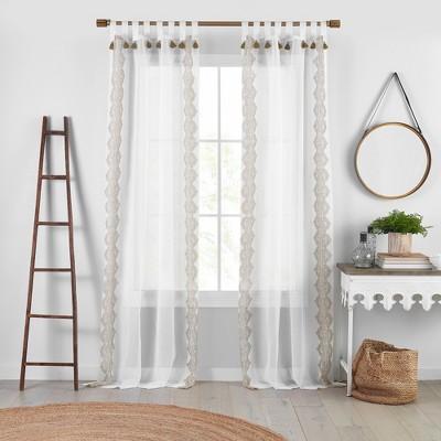 Shilo Boho Sheer Tab Top Window Curtain Panel with Tassels - Parent - Elrene Home Fashions