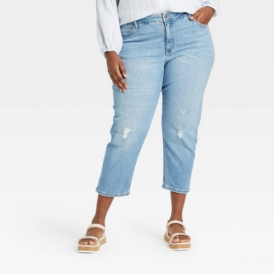 Women's Plus Size High-Rise Cropped Distressed Straight Jeans - Ava & Viv™ Light Wash