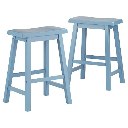 "InspireQ Vinton 24"" Counter Stool - Blue (set of 2) - image 1 of 7"
