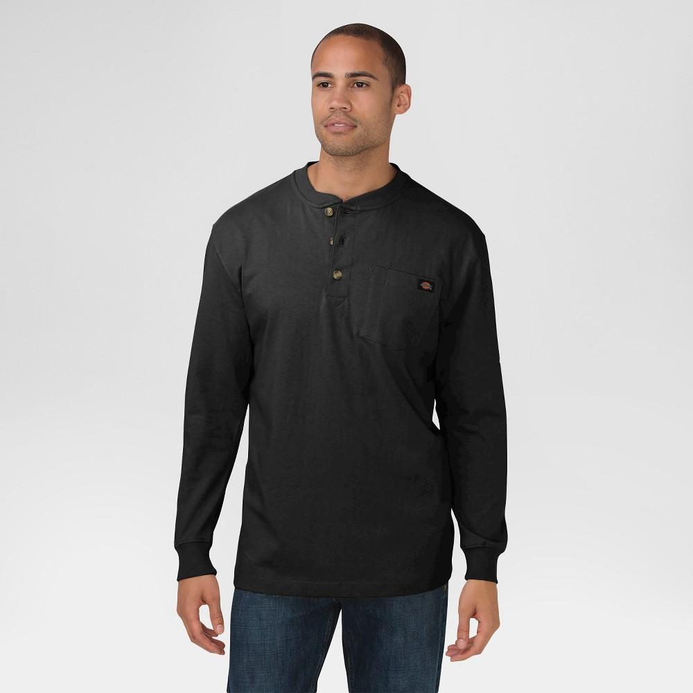 Dickies Men's Cotton Heavyweight Long Sleeve Pocket Henley Shirt, Size: Xxl, Black