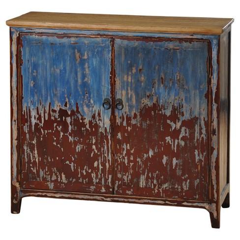 2 Door Solid Elmwood Cabinet Blue Stylecraft Target