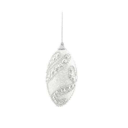Northlight 4ct Beaded Shatterproof Christmas Finial Ornament Set 4 5 White Silver Target