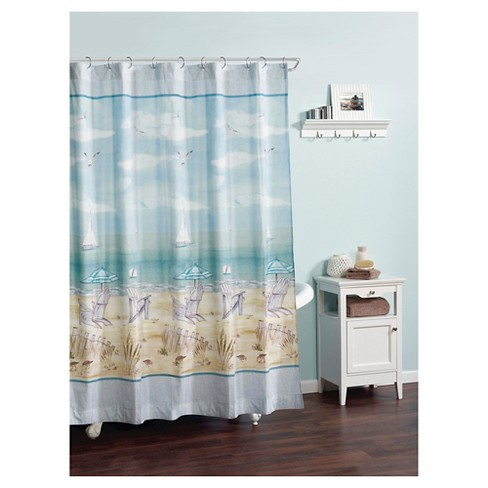 Seaside Serenity Novelty Shower Curtain Blue