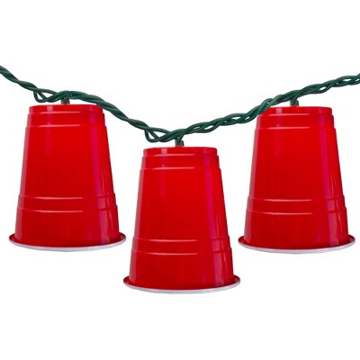 Northlight 10 Count Red Party Cup Summer Novelty String Lights, 6 ft Green Wire