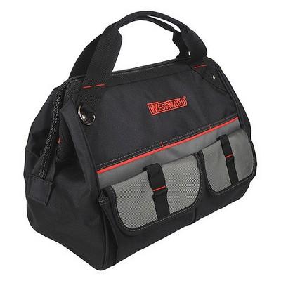 """WESTWARD 32PJ37 Wide-Mouth Tool Bag, 600d Polyester, 21 Pockets, Black, 11-1/2"""""""