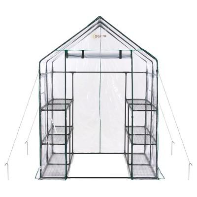 Deluxe Walk - In 6 Tier 12 Shelf Portable Greenhouse - Light Clear - Ogrow