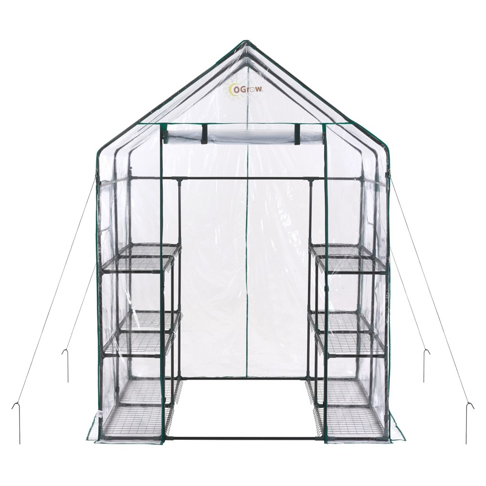 Image of Deluxe Walk - In 6 Tier 12 Shelf Portable Greenhouse - Light Clear - Ogrow