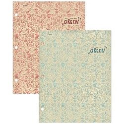 2pk Recycled Portfolios 2 Pocket Wide Ruled Blue and Red - Mead
