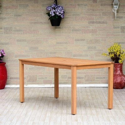 Orly Patio Rectangular Dining Table with Teak Finish - Brown - Amazonia