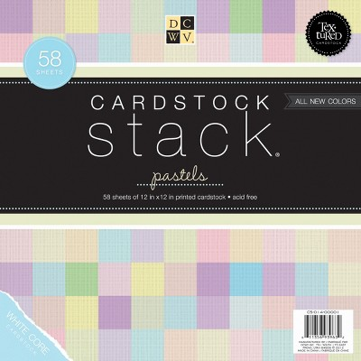 """DCWV Single-Sided Cardstock Stack 12""""X12"""" 58/Pkg-Pastel, White Core, 29 Colors/2 Each"""