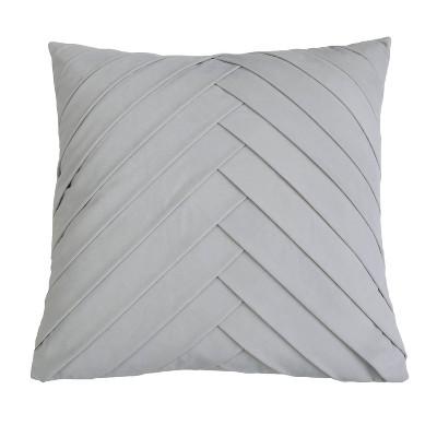 "20""x20"" Oversize James Pleated Velvet Square Throw Pillow Gray - Decor Therapy"